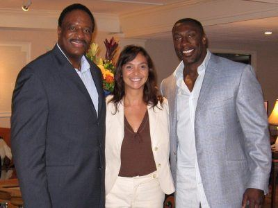 Anita Sayers of The Radnor Hotel welcomes Host James Brown (JB) and Analyst Shannon Sharpe of The NFL Today show on CBS on August 22, 2007.