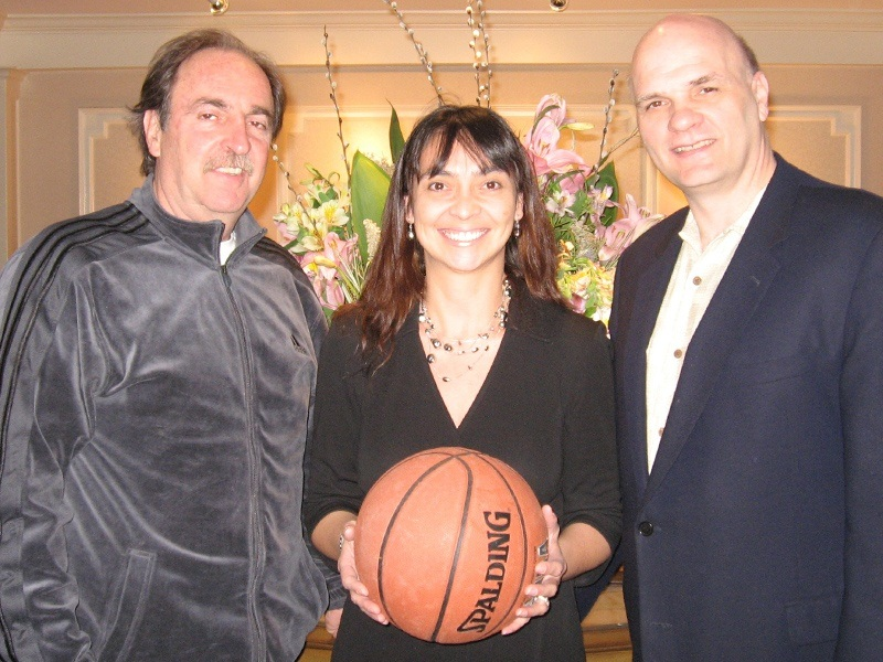 Anita Sayers, Director of marketing & PR of The Radnor welcomes NCAA Head Coaches Fran Dunphy of Temple Owls and Phill Martelli of St. Joseph's Hawks, Thursday April 17, 2008.