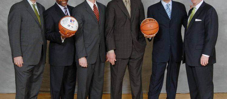 "The 2008 Philadelphia Coaches vs. Cancer comprised of Saint Joseph's Phil Martelli, Drexel's James ""Brusier"" Flint, Penn's Glen Miller, La Salle's John Giannini, Villanova's Jay Wright and Temple's Fran Dunphy."