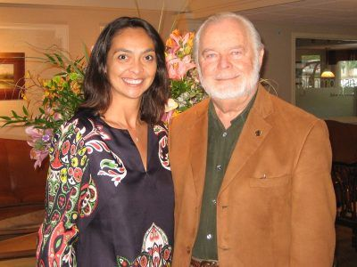 Anita Sayers, Executive Director of Marketing and PR of The Radnor Hotel, welcomes G. Edward Griffin, Author of The Creature from Jekyll Island, Thursday, June 25, 2009.