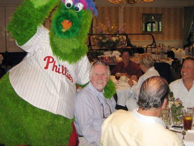 The Philly Phanatic crashes the Sage Software Roadshow meeting at The Radnor Hotel