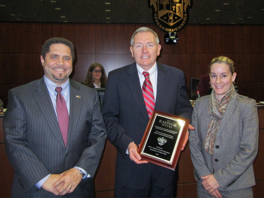 Richard Booker, Radnor Township Commissioner, and Tammy Cohen, Director of Recreation & Community Programming, presented Lou Prevost, Senior Vice President and General Manager of The Radnor Hotel, with a plaque recognizing The Radnor's participation and sponsorship of the 4th Annual Daddy Daughter Valentine's Dance.
