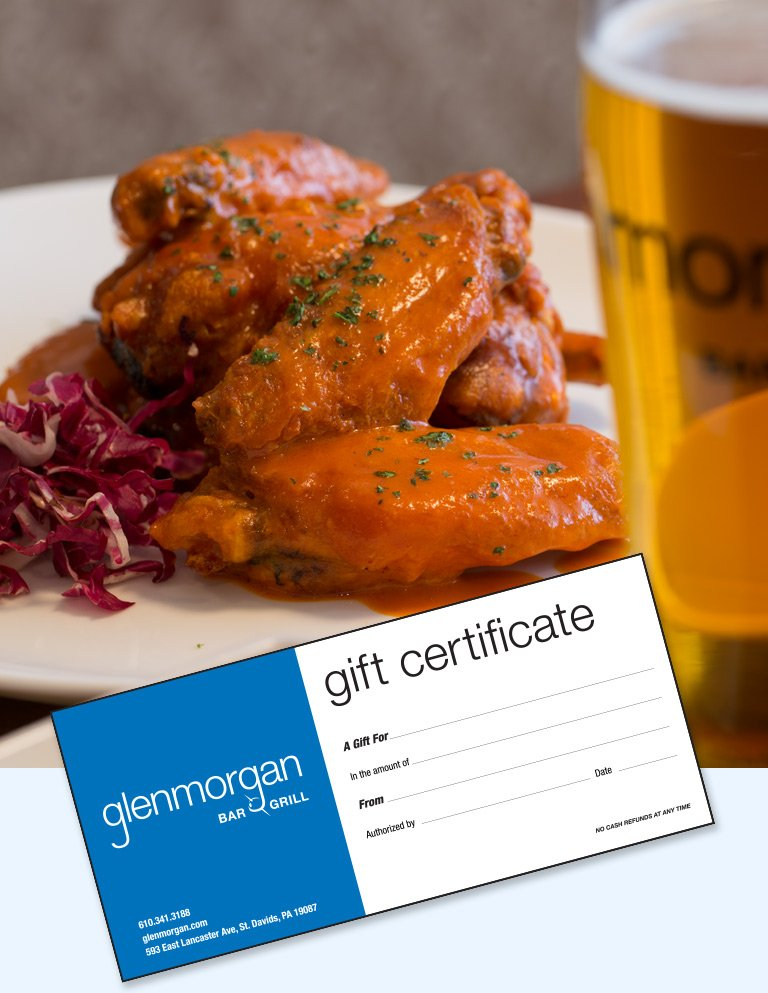 Gift Certificates to Glenmorgan Bar & Grill