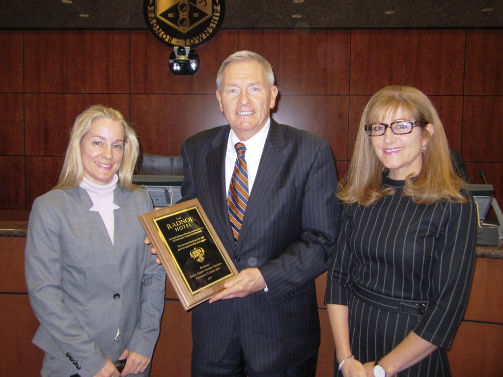 Tammy Cohen, Director of Recreation & Community Programming, and Elaine Schaefer, Radnor Township Commissioner, presented Lou Prevost, Senior Vice President and General Manager of The Radnor Hotel, with a plaque recognizing The Radnor's participation and sponsorship of the 6th Annual Daddy Daughter Valentine's Dance.