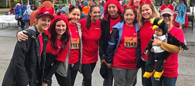 The Radnor Red Racers (left to right) Marissa Lawson, Abby Gilpatrick, Elizabeth Correa, Anita Sayers, Antonio Vallejo, Lucia Vallejo, Phil Shank, Michelle Coyle, Danny Penguin, and Anna Guseva