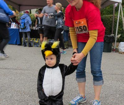 Anna Guseva with Danny Penguin of The Radnor Red Racers