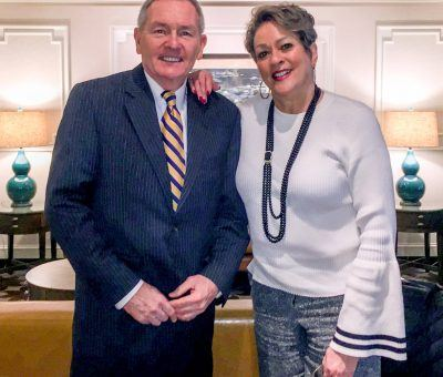Senior Vice President & General Manager of The Radnor Hotel, Louis Prevost, with award-winning broadcaster and local icon, Lisa Thomas-Laury