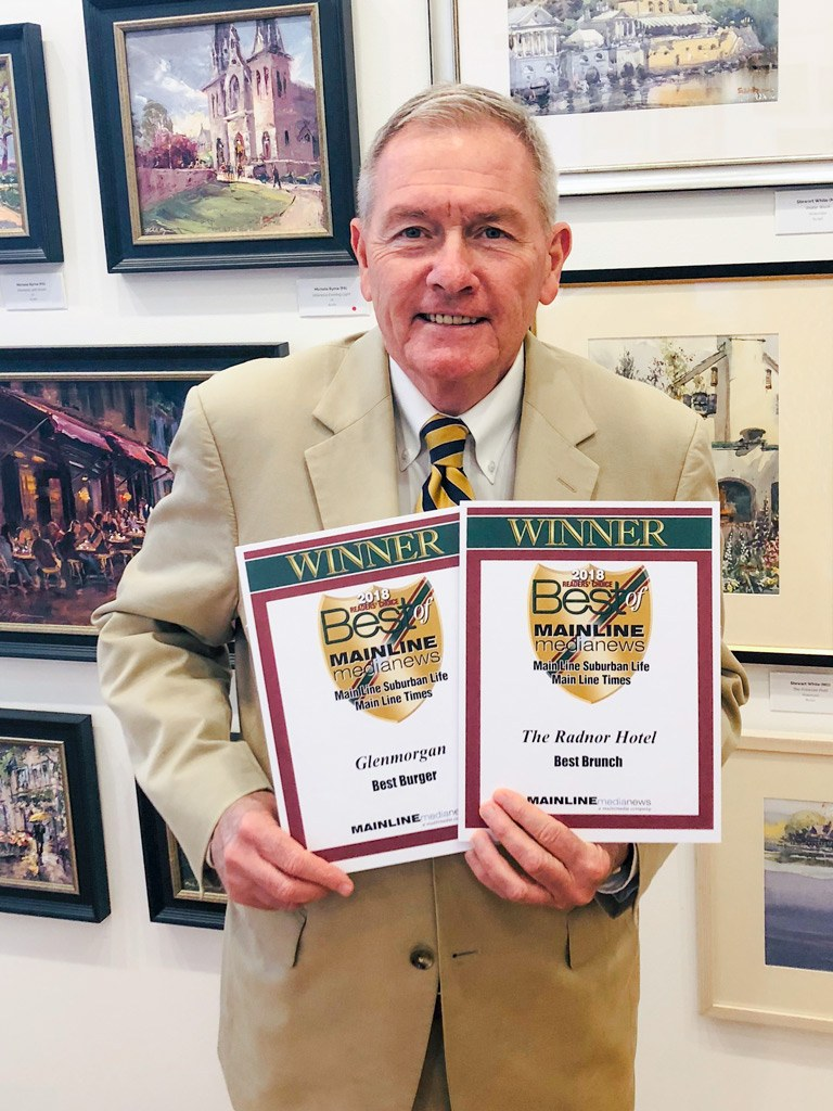 Louis Prevost, Senior Vice President & General Manager of The Radnor Hotel, accepts the Main Line Media News Readers' Choice Awards for The Radnor Hotel and Glenmorgan Bar & Grill.