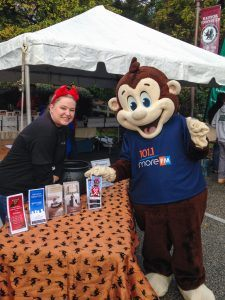 Michelle Coyle, Catering Sales Manager for The Radnor Hotel, with Morey the Monkey of 101.1 More FM