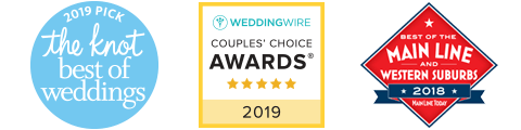 "Voted ""BEST WEDDINGS"" 2018 by The Knot, Wedding Wire, and Main Line Today!"