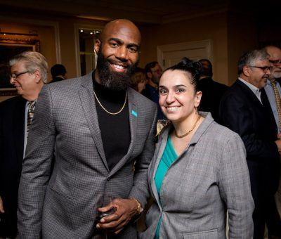 Malcolm Jenkins with Nicole Nahas, Banquet Manager at The Radnor Hotel