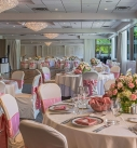 Wedding Reception at The Radnor Hotel 2021 with low centerpiece flowers