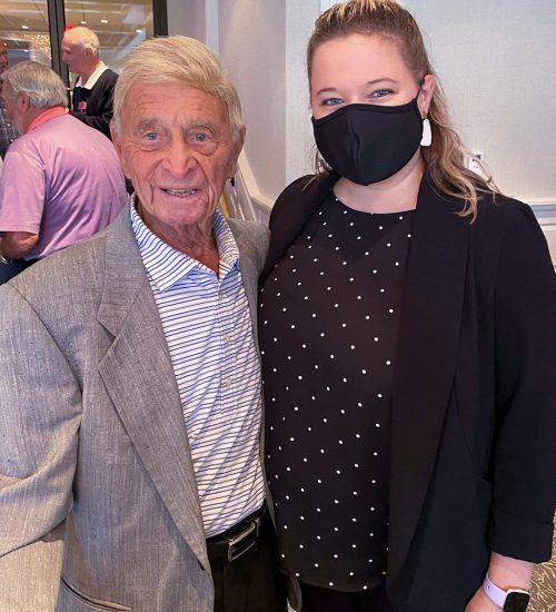 Bobby Shantz, former major league pitcher for the Philadelphia Athletics and Phillies, pictured with Michelle Shank, Catering and Sales Manager at The Radnor Hotel
